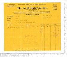 6824 A. B. Rugg clothes 1926 billhead Burlington, VT, I. E. Huntley, J. H. Allen