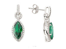 Emerald Drop Earrings Sterling Silver Platinum Plated Marquise Drops