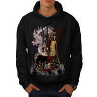 Wellcoda Japan Dragon Wolf Mens Hoodie, Katana Casual Hooded Sweatshirt