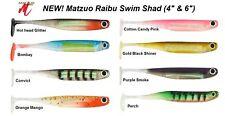 "MATZUO SOFT PLASTIC RAIBU SWIM SHAD PADDLE TAIL LURE 4"" & 6"" - 5/PK Free Postage"