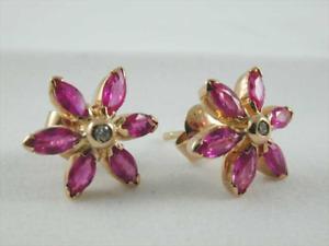 Pink Ruby & Diamond 9ct Rose Gold Flower Cluster Butterfly Stud Earrings 2.5g