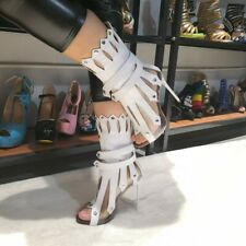 Women's Clear Peep Toe Tassel Sandals Stilettos High Heels Stage Shoes Nightclub