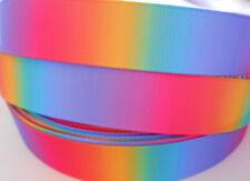 "RAINBOW blend Grosgrain Ribbon 7/8"" Clip Card Craft  2 yds 5 yds DCD"