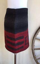 RALPH LAUREN Gray Red Teal Cross Wool Southwestern Indian Blanket Vtg Skirt M