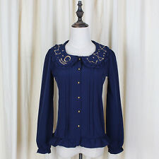 Embroidered Collar Pleated Constellation Shirt Romantic Mori Girl Long Sleeve