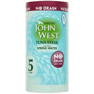 John West Tuna Steak in Spring Water No Drain Less Mess Fish Tin Can Pack 5x110g