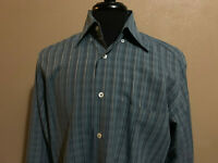 Bugatchi Uomo Blue Striped Long Sleeve Button Front Dress Shirt Mens Medium