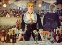 "Vintage French Art Manet CANVAS PRINT The bar painting poster 24""X16"""
