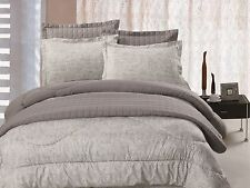 6pc Comforter & Quilt Set Reversible Grey & Light Green Paisley Print Queen King