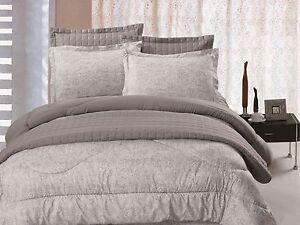 6pc Comforter & Quilt Set Reversible Grey & Light Green Paisley Print Queen King