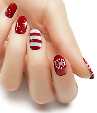 Christmas Candy Cane red color real nail polish strips Kzc01 street art wrap