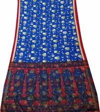 Indische Vintage Saree Blau Seide Mischung Blumen Sari 5 Yd Craft Fabric SI8243