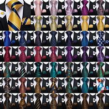 USA DiBanGu Mens Silk Tie Set Paisley Striped Necktie Handkerchief Cufflinks