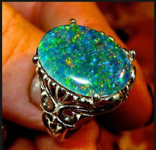 925 Silver Filled Cut Large Green Fire Opal&Emerald Ring Engagement Jewelry Gift