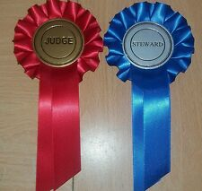 Rosette Dog Show Champion Open Judge And Steward Rosettes red and blue ribbon