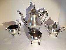 Vintage Leonard Silverplate 4 Piece Set Coffee Tea Pot Creamer Sugar Waste Bowl