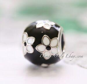 Authentic Pandora Mystic Flower, Black & White Enamel 791398ENMX Charm