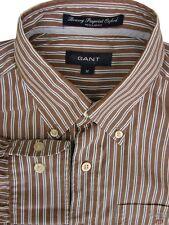 GANT Shirt Mens 15 M Brown - Blue & White Stripes BOWERY PINPOINT OXFORD REGULAR
