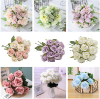 12 Head Fake Rose Artificial Silk Flower Bridal Wedding Party Bouquet Home Decor