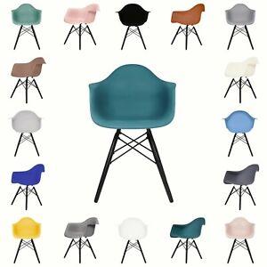 Fusionwell DAW Eiffel Style Plastic Dining Chair with Beech Wood Legs Armchair