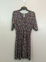 Gilli Modcloth Womens Size Large Floral Rayon Tie Waist Faux Wrap Lined Dress