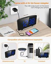 Digital Alarm Clock for Bedrooms with Fm Radio,7.3'Led Screen,Usb Port Charging