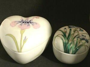 Two Takahashi  porcelain Trinket Boxes~Heart and Egg Shaped~Iris Flowers on Each