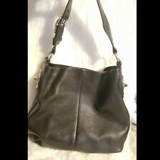 COACH Hobo Black Pebble Leather Handbag Purse