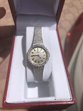 Omega Solid 14K White Gold Diamond Ladies Watch