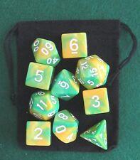 Dinosaur (Green, Yellow) RPG D&D Dice Set: 7 + 3d6 = 10 polyhedral die plus bag!