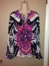 EMILIO PUCCI ITALY MULTI COLOURED LADIES SILK BLOUSE SIZE 6
