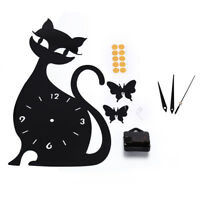 black cat Wall clock Mirror originality personality on the wall black Silvery YJ