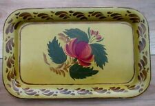 Vintage TOLEWARE TRAY Hand Painted Phyllis Fetzer 1965, Mustard Yellow & Floral