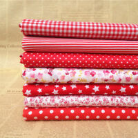 "Craft 7 Assorted Pre Cut Charm 10 ""Squares Quilt Cotton Fabric Patchwork Red"
