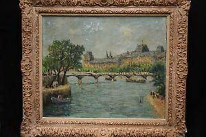 Tableau huile sur toile Paris La Seine, le pont de l'Académie 1944 Libération