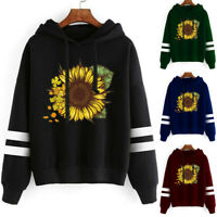 Womens Sunflower Print Long Sleeve Hoodie Sweatshirt Hooded Pullover Tops Blouse