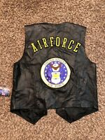 MEN'S US AIR FORCE BLACK LEATHER MOTORCYCLE VEST SIZE L MADE IN THE USA NWT!