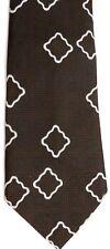 """John Blair Men's Vintage Polyester Tie 55"""" X 4.25"""" Brown w/ white Geometric"""