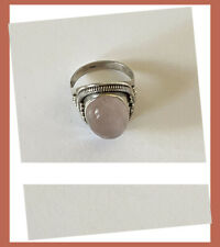 Artisan Created Hand Crafted Natural Rose Quartz Sterling Silver Ring from India