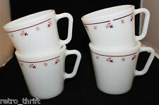 Corning Corelle Pyrex Set of 4 Burgundy Rose Milk Glass Coffee Mug Cup 300ml USA