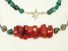 "RED CORAL and TURQUOISE GEMSTONE NECKLACE, 925 STERLING SILVER ""NEW ""AUZ MADE"