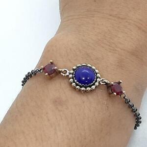 Deco 5.30ctw Sapphire & Ruby 14K Yellow Gold Silver Bracelet 6g