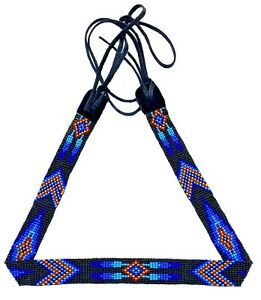 Handmade Beaded Native Style Blue Multi-Color Beadwork Cowboy Hatband H55/4