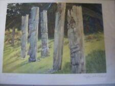 Ninstints (Totem Poles) 6x9 Inch Print By Kiff Holland, A.W.S