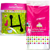 Sweet Treats Plastic Tablecloth Happy Birthday Banner Party Supplies Set