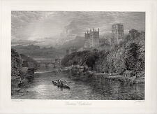 "1800s Henry DAWSON Antique Engraving ""Scenic Summer Twilight Boating"" SIGNED COA"