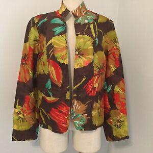 New Coldwater Creek Women Size M Blazer Jacket Light Leaf Abstrac Fall Long Slee