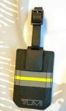 Tumi Province Black Saffiano Yellow Stripe Leather Luggage Tag 109743