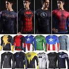 DC Men's Marvel Superhero Compression T-Shirt Long Sleeve Sport Cycling Tee Top
