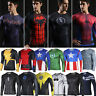 Mens Marvel Superhero Compression T Shirts Long Sleeve Fitness Sports Gym Tops